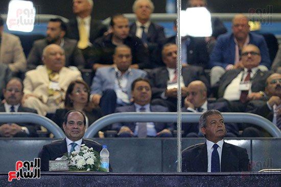وزير الرياضة فى افتتاح مونديال كرة السلة