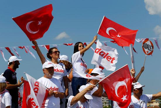 متظاهرون يرفعون العلم التركى