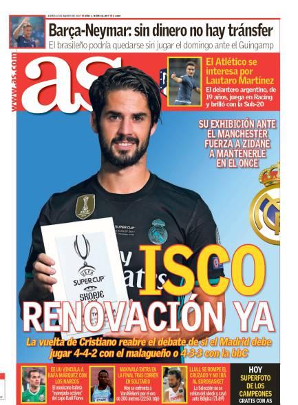 ايسكو على غلاف صحيفة آس