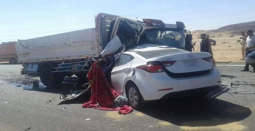 مصرع 6 وإصابة 4 أشخاص فى حادثين على الطريق الصحراوى بالمنيا