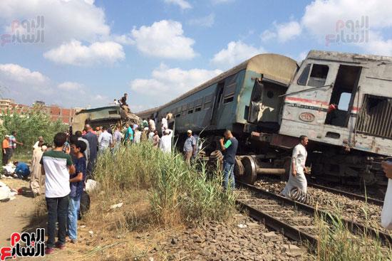 تصادم قطارين فى منطقة خورشيد بالإسكندرية (4)