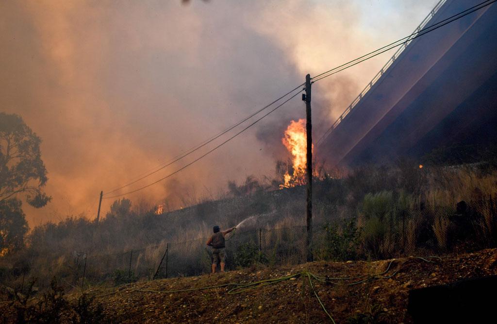 مواطن فى البرتغال يحاول اخماد الحريق