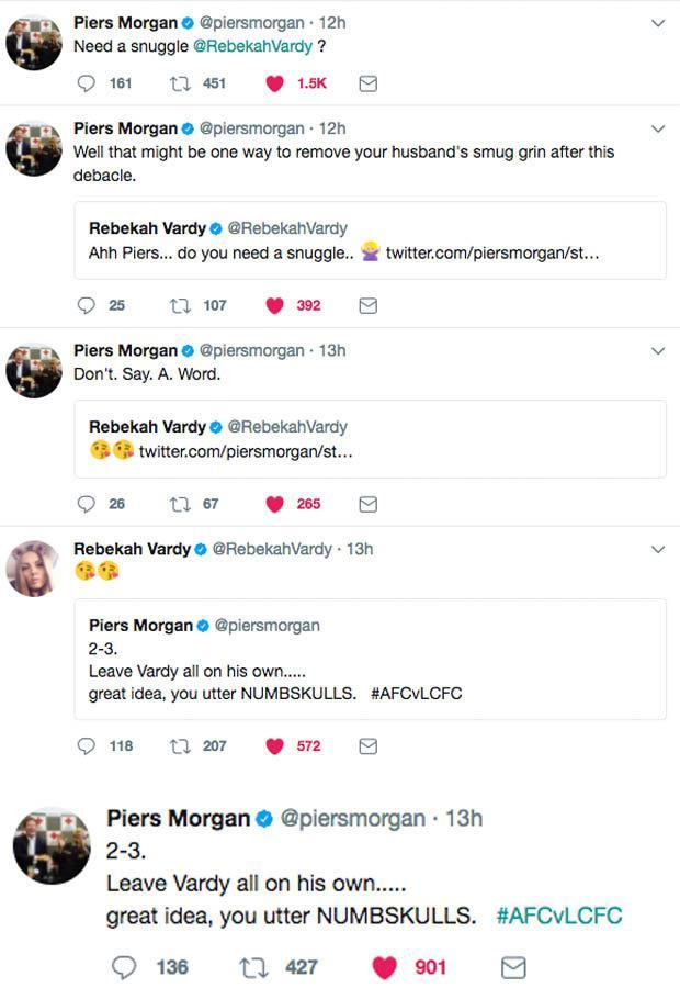 تغريدات مورجان وردود زوجة فاردى عليها
