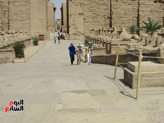 السياح فى زياراتهم لمعابد الكرنك
