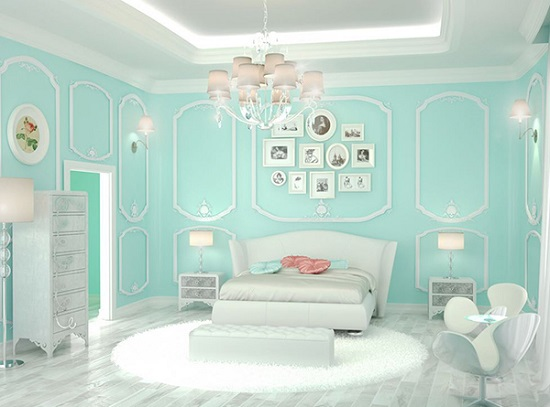 الوان غرف نوم ـ الازرق التيفانى