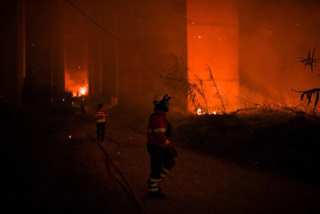 رجال الإطفاء وسط النيران
