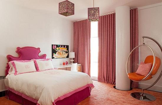 الوان غرف نوم ـ الابيض مع الوردي