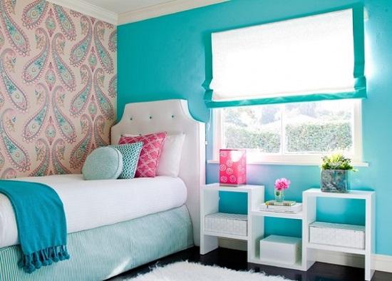 الوان غرف نوم ـ التركواز مع الأبيض