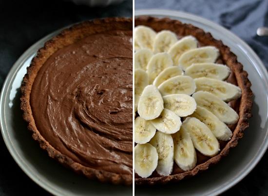 تارت النوتيلا قبل وبعد إضافة الموز