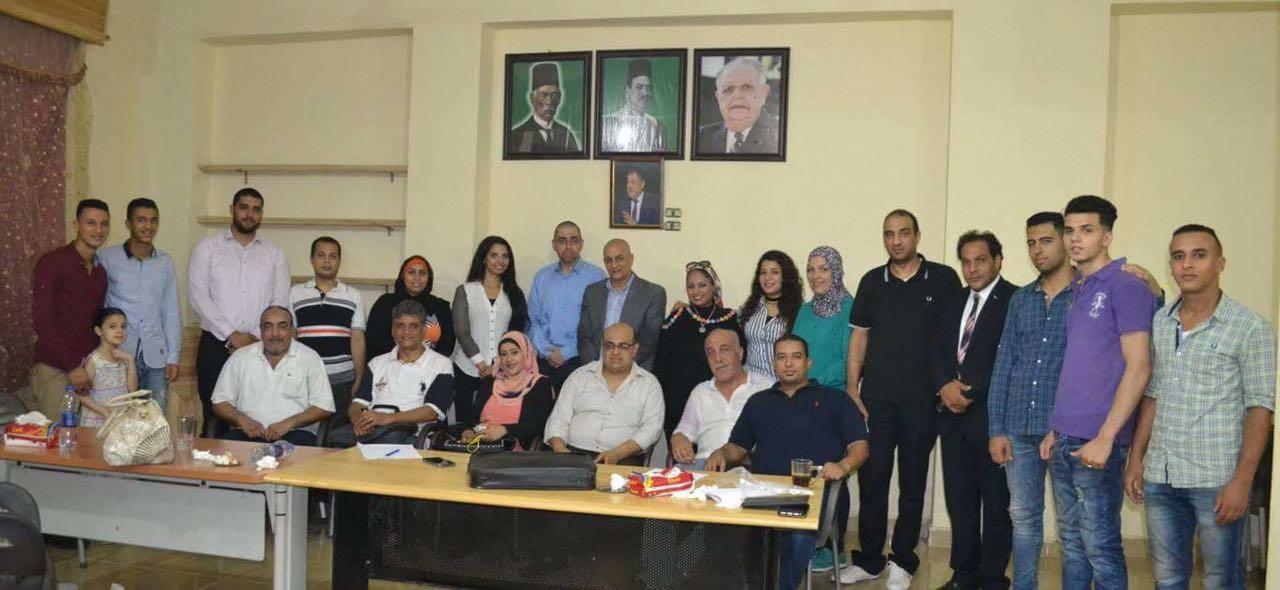 صورة جماعية لاعضاء الوفد خلال افتتاح المقر الجديد بالهرم
