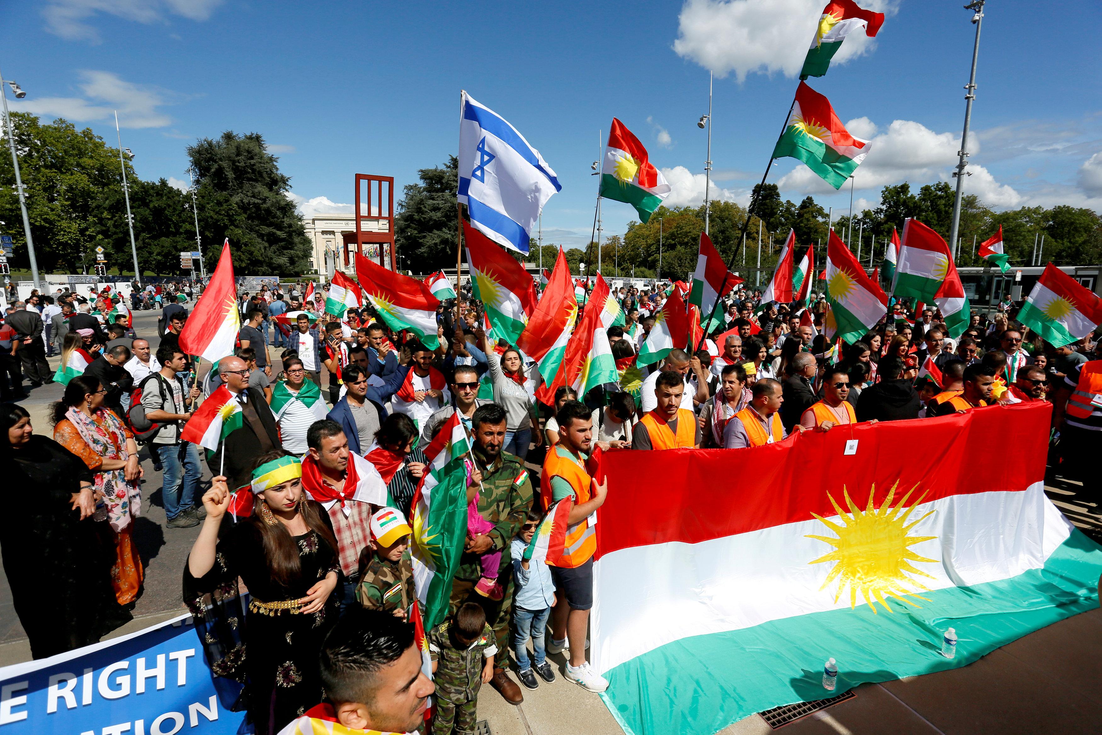 أعلام إسرائيل وكردستان