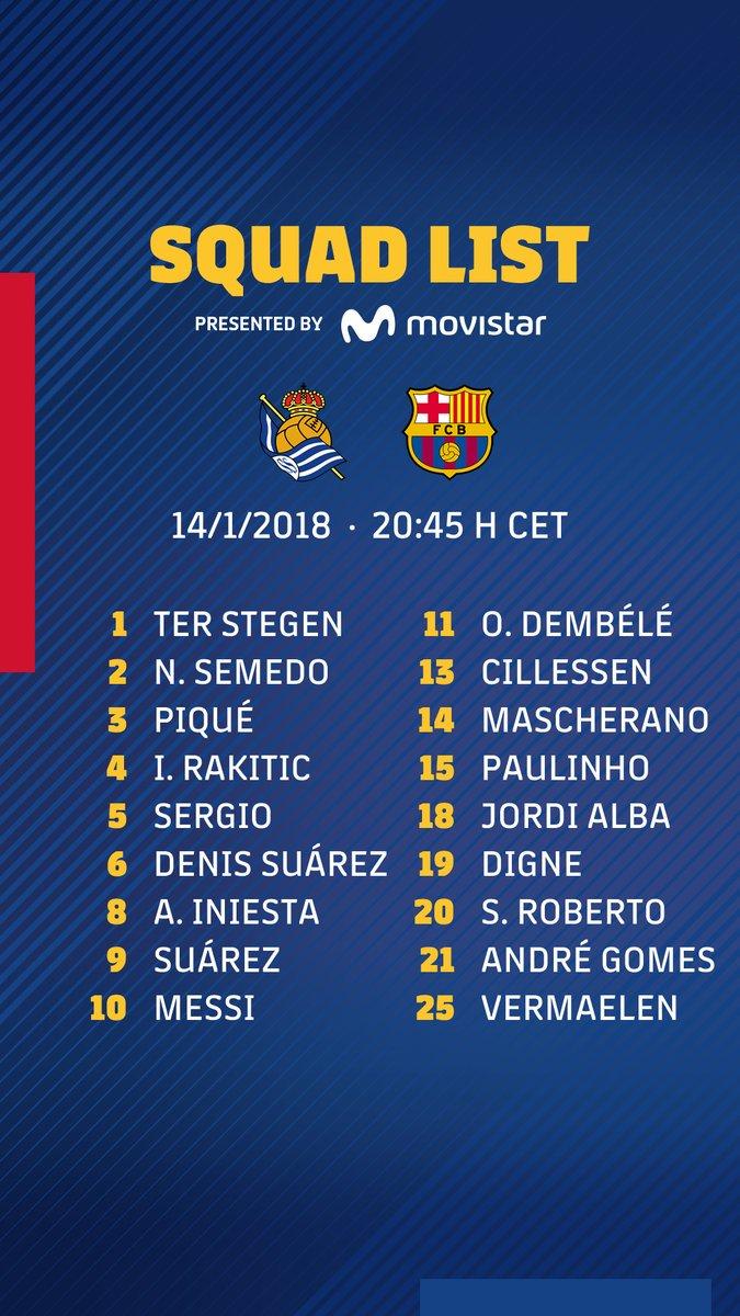 قائمة برشلونة لمواجهة ريال سوسيداد
