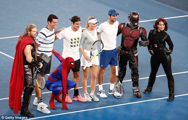 نجوم التنس مع نجوم فيلم مارفيل