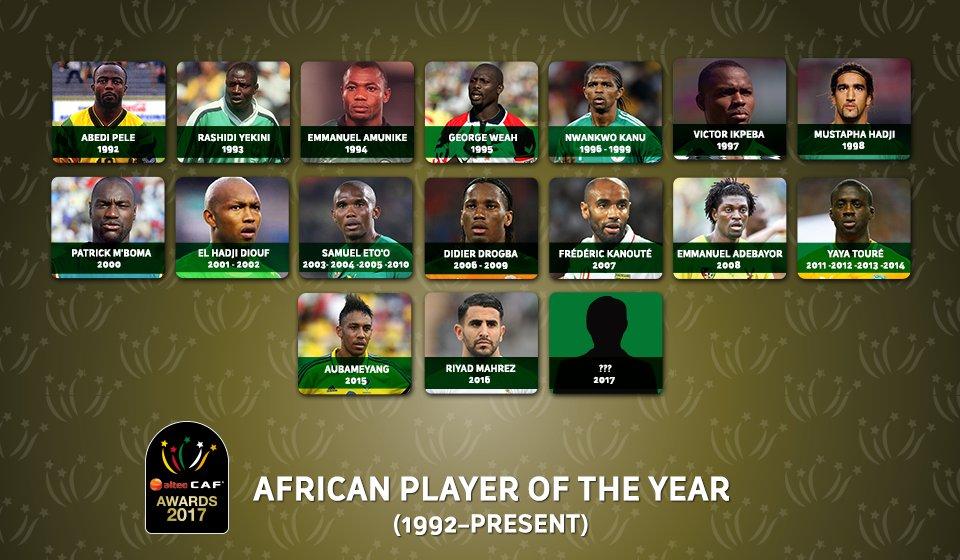 الفائزون بجائزة أفضل لاعب فى أفريقيا