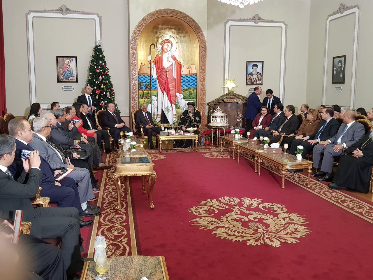 الباب تواضروس يستقبل وفد مجلس النواب المهنئ بعيد الميلاد
