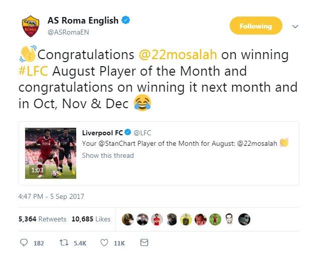 حساب روما يتحدث عن قدرات صلاح الجماهيرية الخارقة