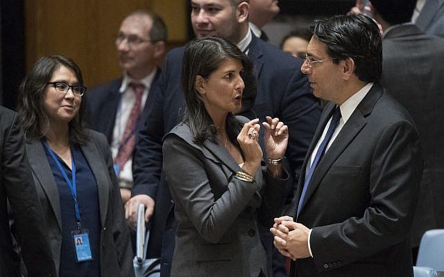 هيلي مع سفير اسرائيل بالامم المتحدة