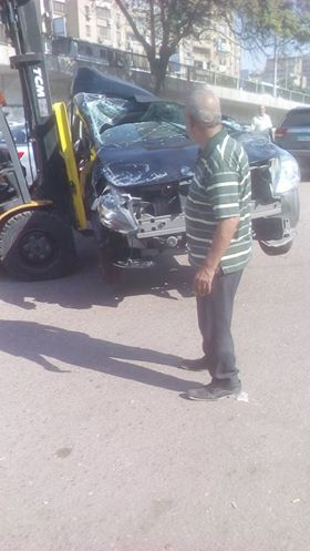 سقوط سيارة من اعلى كوبرى ناهيا  (4)