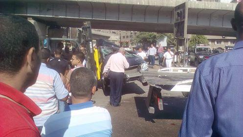 سقوط سيارة من اعلى كوبرى ناهيا  (1)