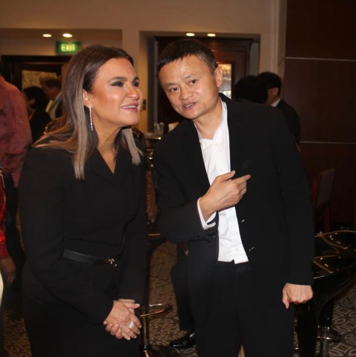 وزيرة الاستثمار والتعاون الدولي مع المليادير الصينى جاك ما مؤسس مجموعة على بابا الشهيرة