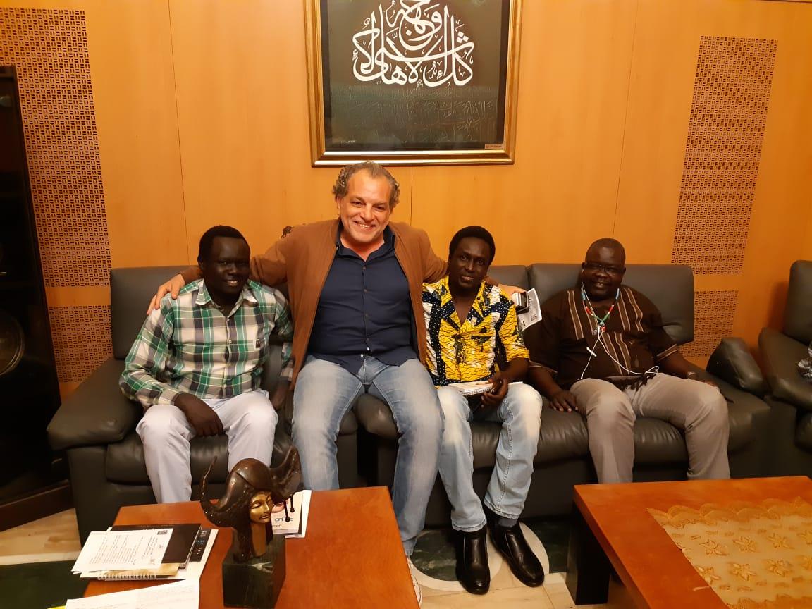 المخرج اشرف فايق مع الأشقاء الافارقة من دولة جنوب السودان