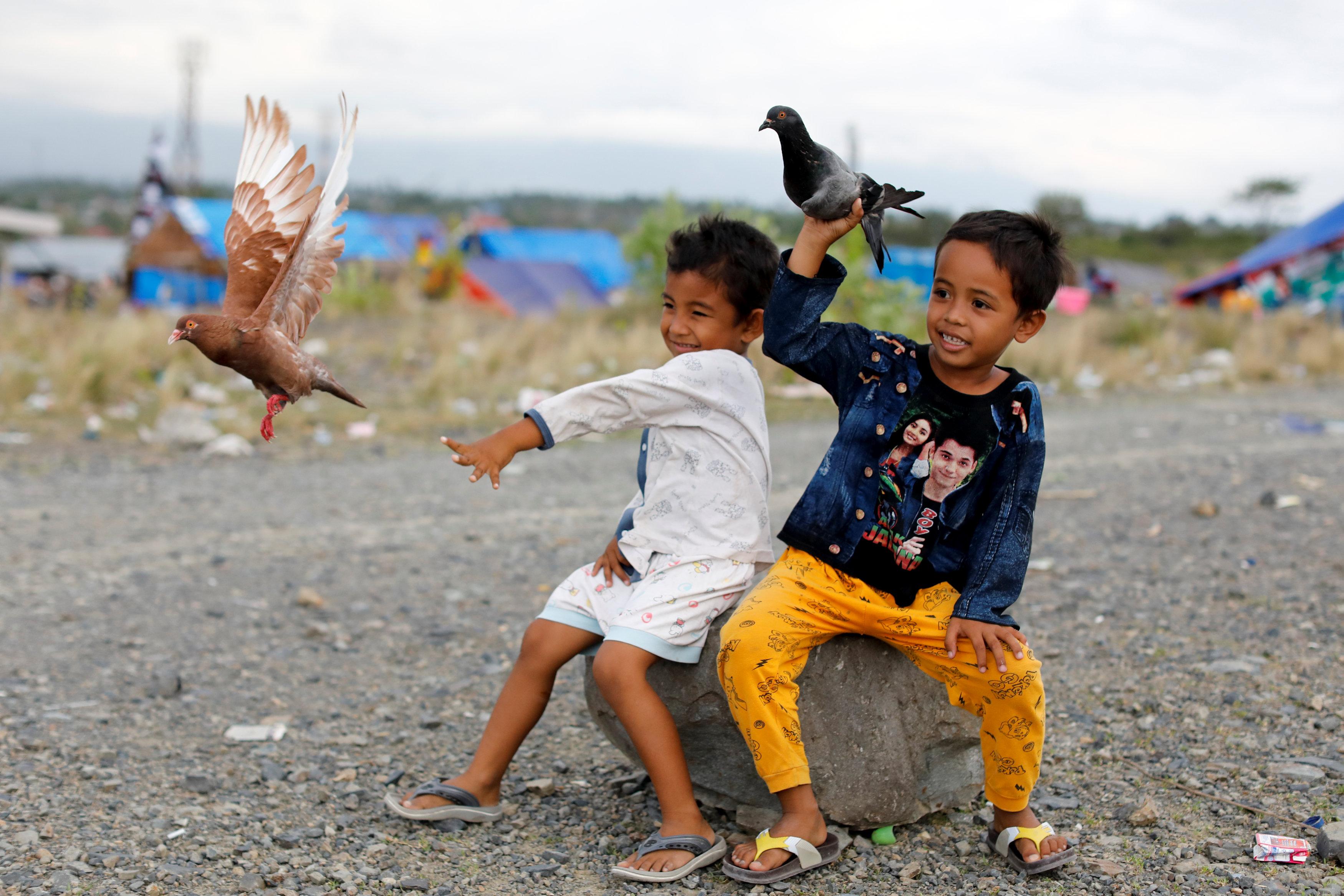 إبتسامة أطفال يحملون الحمام وسط حطام المنازل والمخيمات بموقع الزلزال وتسونامى