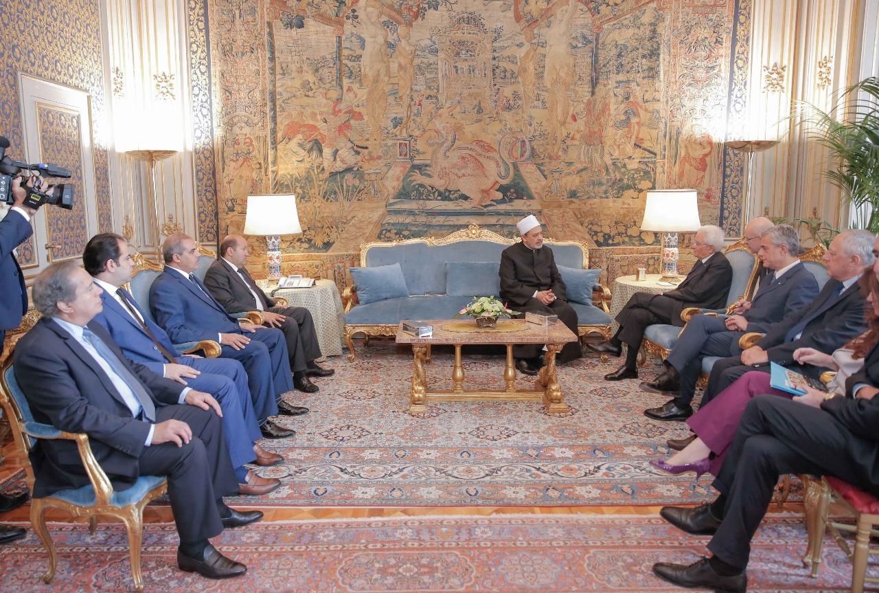 لقاء شيخ الازهر مع الرئيس الايطالى (1)