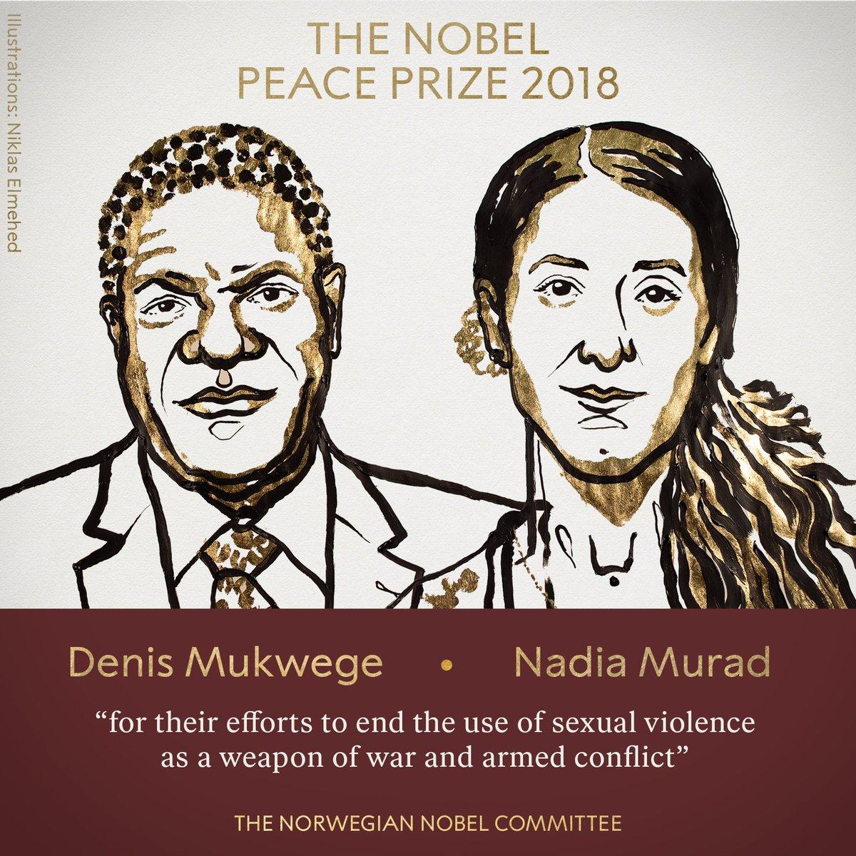 دينيس موكويجى وناديا مراد الفائزان بجائزة نوبل للسلام