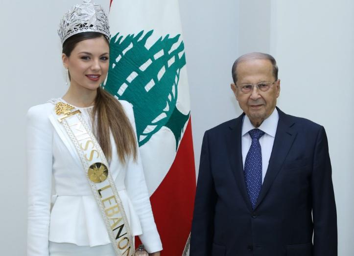 ميشال عون ومايا رعيدى ملكة جمال لبنان