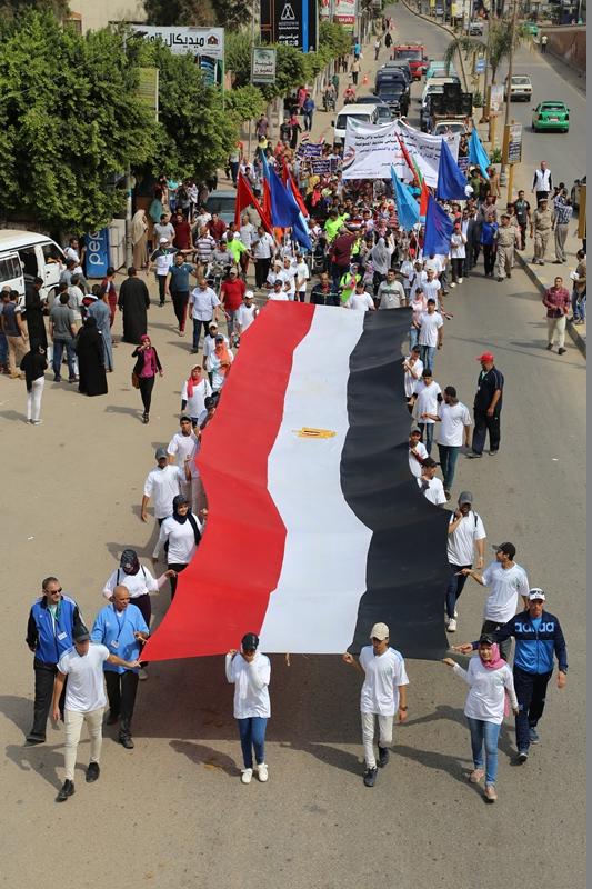 محافظ المنوفية يتقدم مسيرة شبابية  (5)