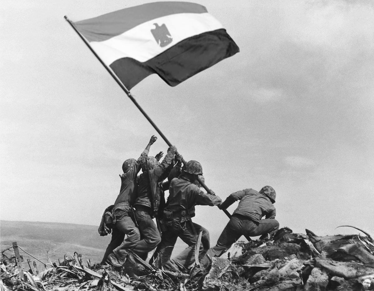العلم مصر يرفع علي أرض سيناء