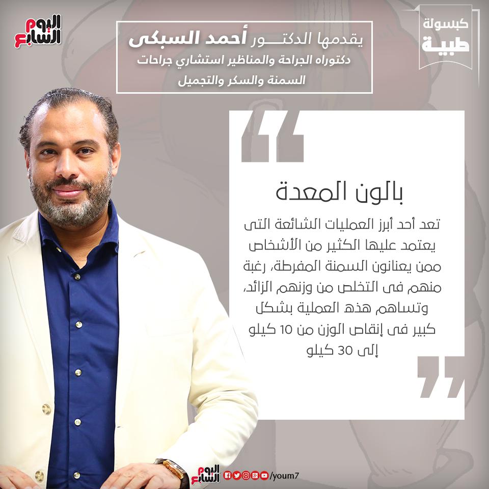إنفوجراف دكتور أحمد السبكى يقدم معلومة عن عملية بالون المعدة