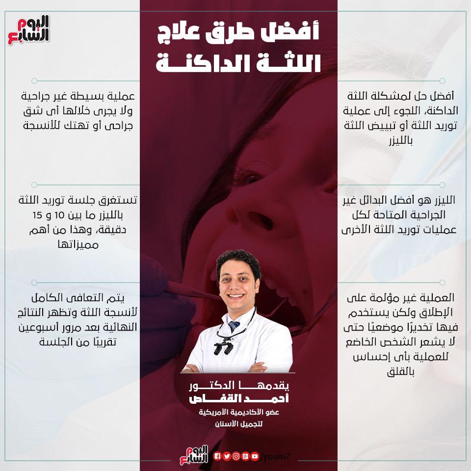 إنفوجراف دكتور أحمد القفاص يوضح أفضل طرق علاج اللثة الداكنة