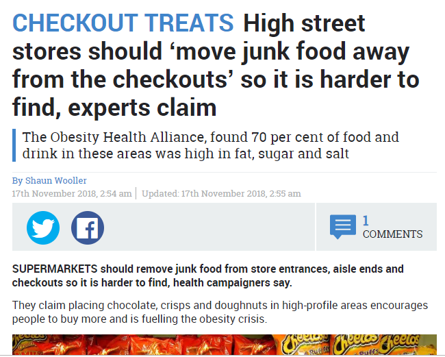 Remove food and sweets from the eyes of consumers