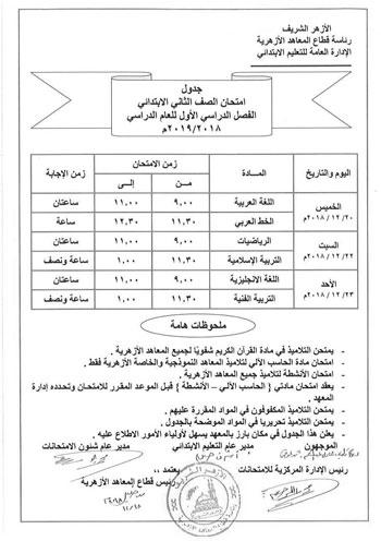 جدول امتحانات الفصل الدراسى  (2)