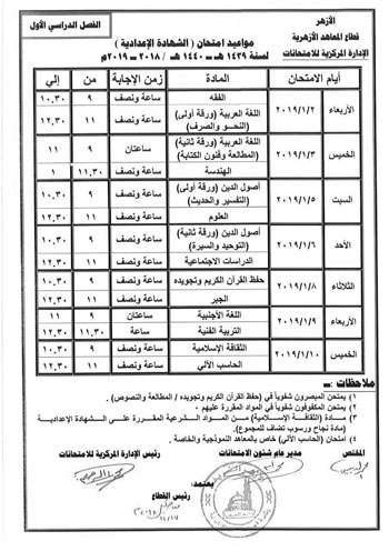 جدول امتحانات الفصل الدراسى  (9)