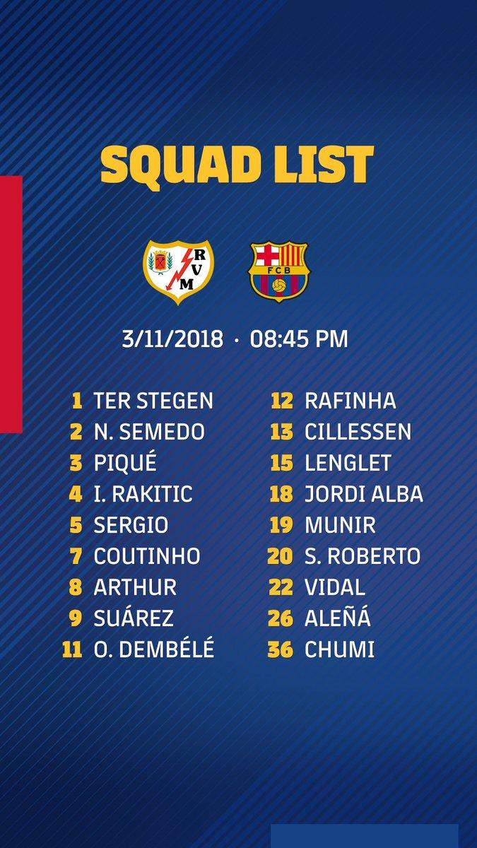 قائمة برشلونة ضد رايو فاليكانو