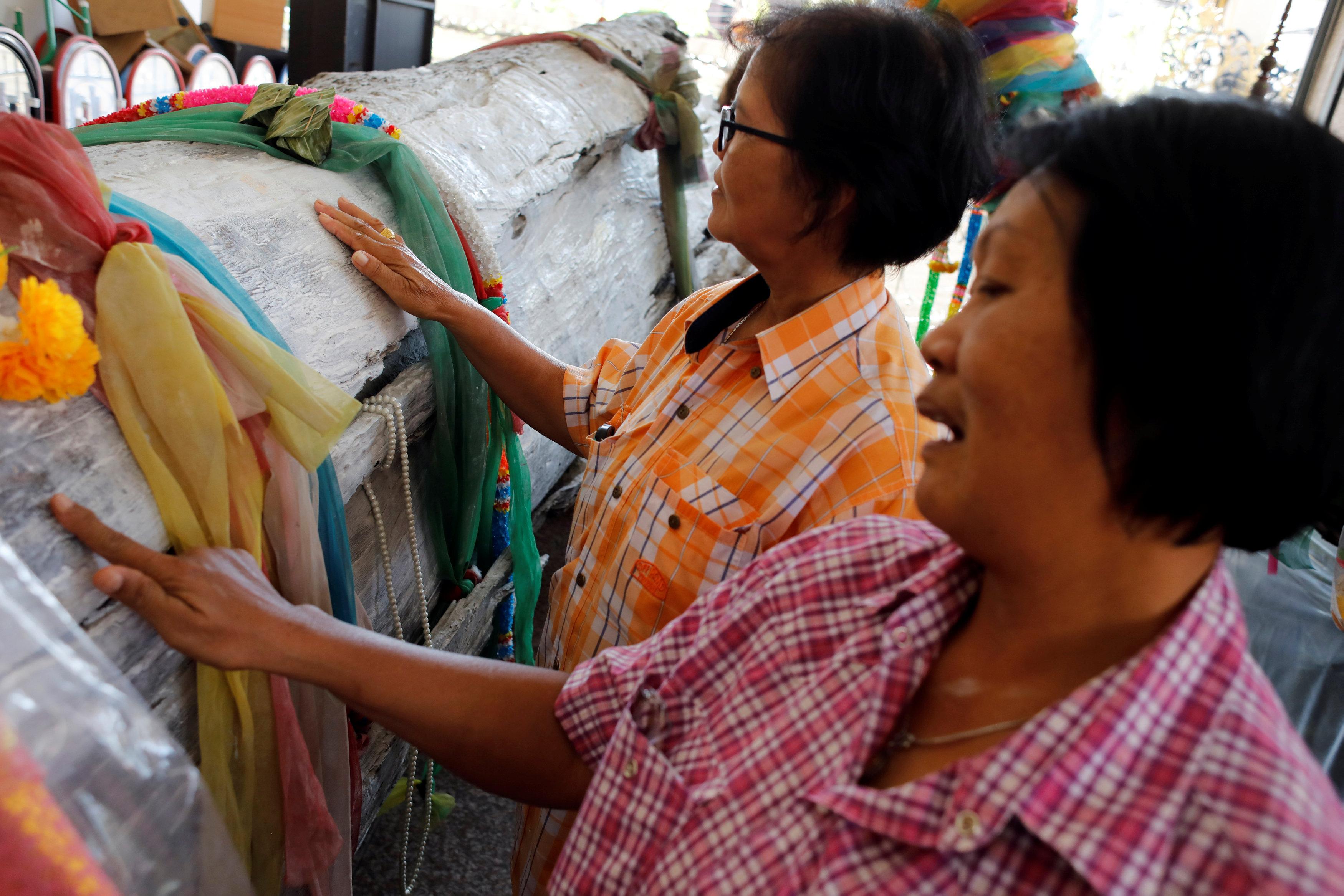 سيدات يتبركن بشجرة الحظ فى تايلاند