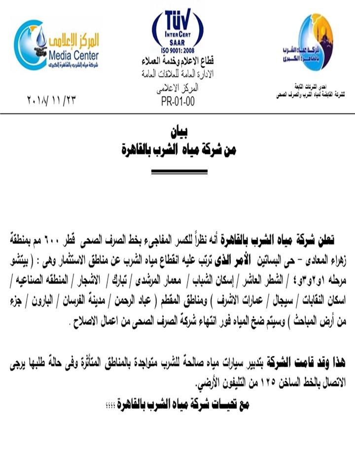 """مياه الشرب"""" : انقطاع المياه عن عدة مناطق بزهراء المعادى والمقطم - اليوم  السابع"""