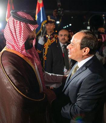 الرئيس السيسى يستقبل ولى العهد السعودى فى مطار القاهرة (6)