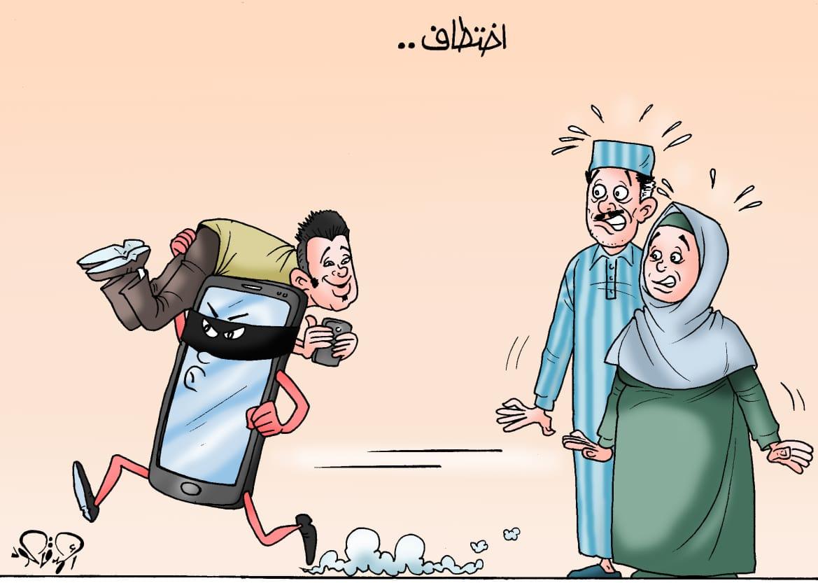 التكنولوجيا تختطف الأبناء فى كاريكاتير اليوم السابع