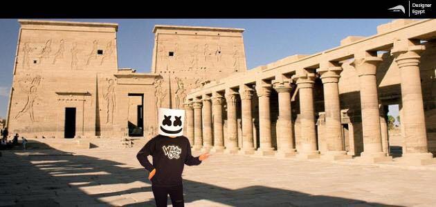 صورة تخيلية لمارشميلو فى المعابد الآثرية بالأقصر