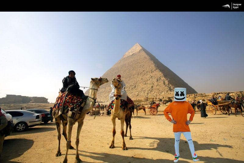 صورة تخيلية لمارشميلو فى الأهرامات بالجيزة