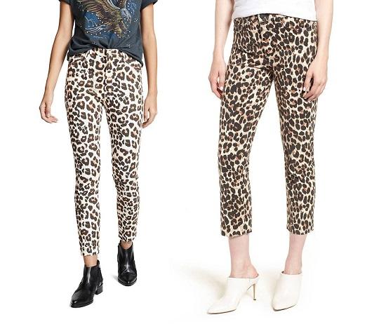 جينز مطبوع بجلد النمر مع أحذية الخريف