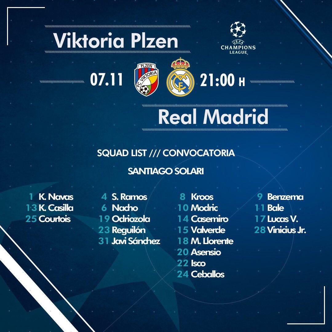 قائمة مباراة ريال مدريد لمباراة فيكتوريا بلزن