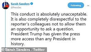 تغريدات سارة ساندرز عن الصحفى أكوستا (3)