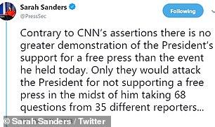 تغريدات سارة ساندرز عن الصحفى أكوستا (5)