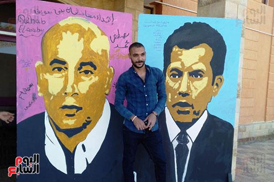 ياسر الدينارى.. رسام احترف فن  الجرافيتى وجداريات الشوارع ببنى سويف (11)