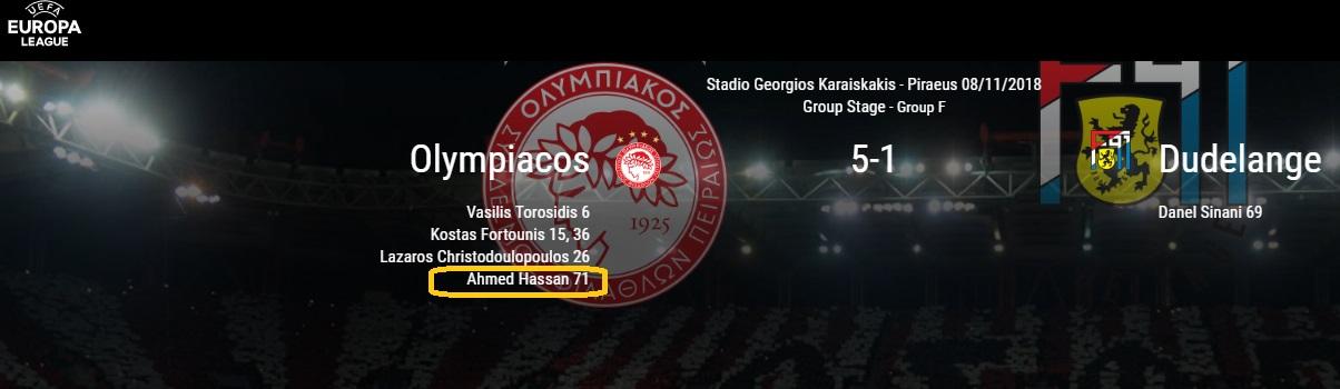 صفحة مباراة اولمبياكوس على موقع الاتحاد الاوروبى
