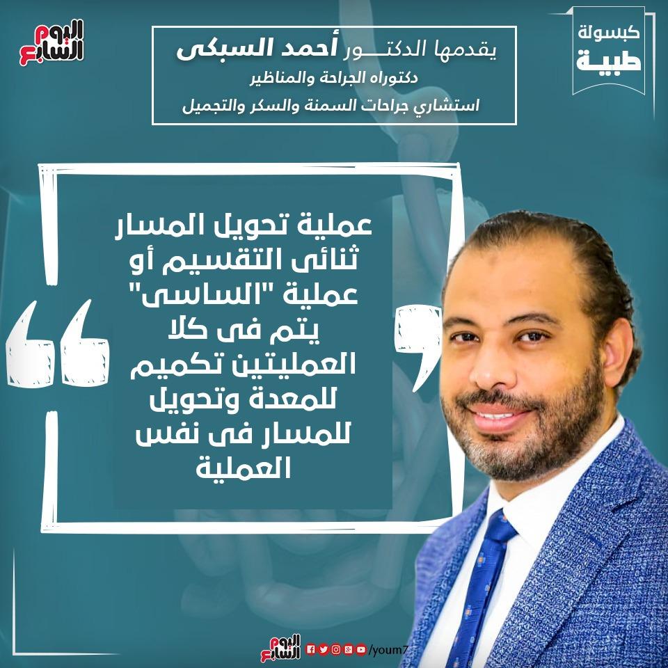 إنفوجراف دكتور أحمد السبكى يقدم معلومة عن عملية تحويل المسار ثنائى التقسيم أو عملية الساسى